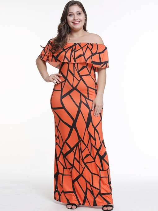 Plus Size Off Shoulder Ruffle Prints Maxi Dress