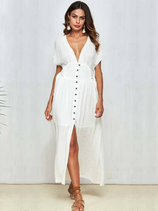 V-Neck Short Sleeve Button Maxi Dress