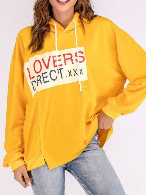 Loose Fit Letter Print Contrast Color Women's Oversize Hoodie