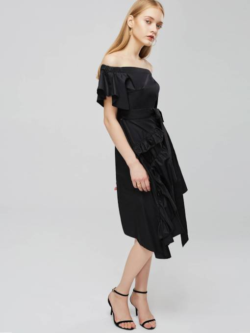 Black Off Shoulder Ruffle Party Dress