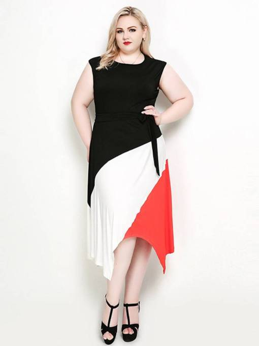 Plus Size Round Neck Color Block Day Dress