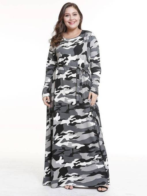 Plus Size Round Neck Belt Prints Casual Maxi Dress