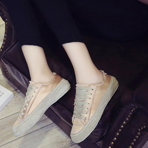 Round Toe Lace-Up Plain Casual Women's Canvas Shoes