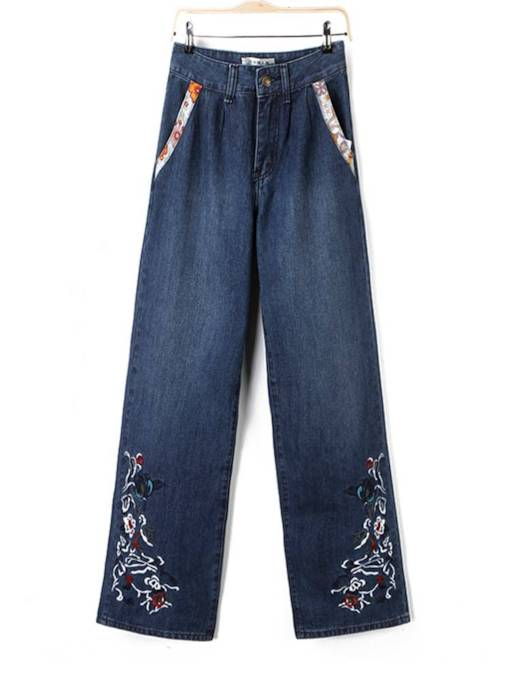 Floral Embroidery Wide Legs Women's Jeans