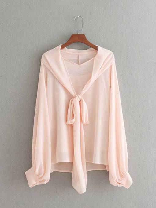 Double-Layer Lantern Sleeve Solid Color Women's Blouse