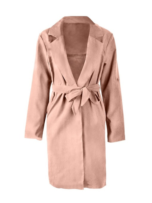 Notched Lapel Belt Long Length Women's Trench Coat