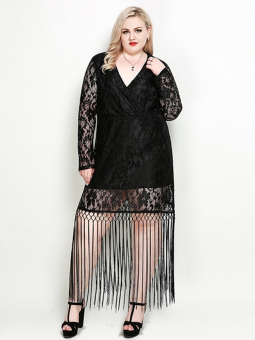 Plus Size Black V-Neck Long Sleeve Lace Dress