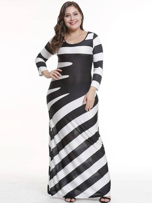 Plus Size Round Neck Stripe Elegant Maxi Dress