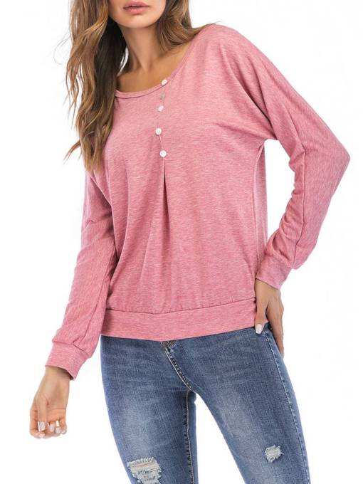 Bead Decor Pleated Long Sleeve Round Neck Women's T Shirt