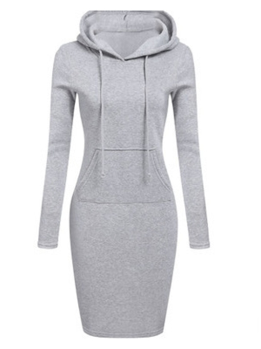 Plain Pocket Women's Hooded Dress