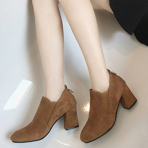 Chunky Heel Round Toe Slip-On Plain Women's Ankle Boots