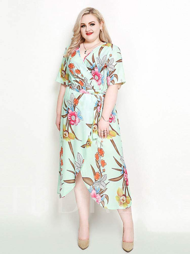 Buy Plus Size Floral Prints Half Sleeve Split Dress, Plusee, 13365368 for $32.72 in TBDress store