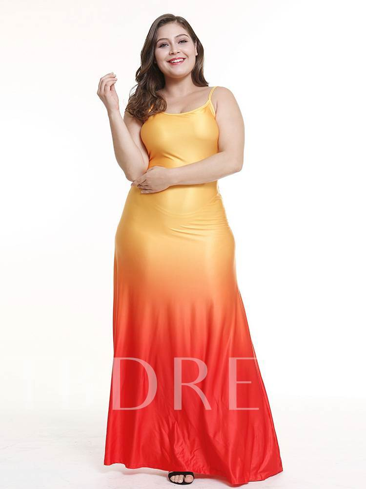 Plus Size Sleeveless High Waist Colorful Maxi Dress