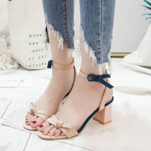 Suede Color Block Open Toe Ankle Strap Ladylike Women's Sandals