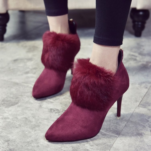 Back Zip Pointed Toe Stiletto Heel Suede Ladylike Women's Ankle Boots