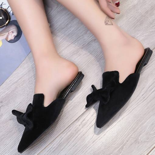 Suede Closed Toe Bowknot Women's Black Flat Mules