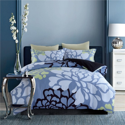 Heart-shaped Design Printing Blue 4-Piece Polyester Bedding Sets/Duvet Cover
