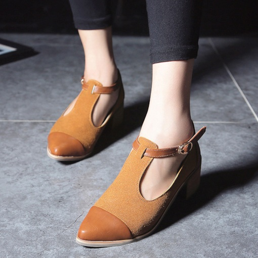 Pointed Toe Hasp Chunky Heel Classical Women's Pumps