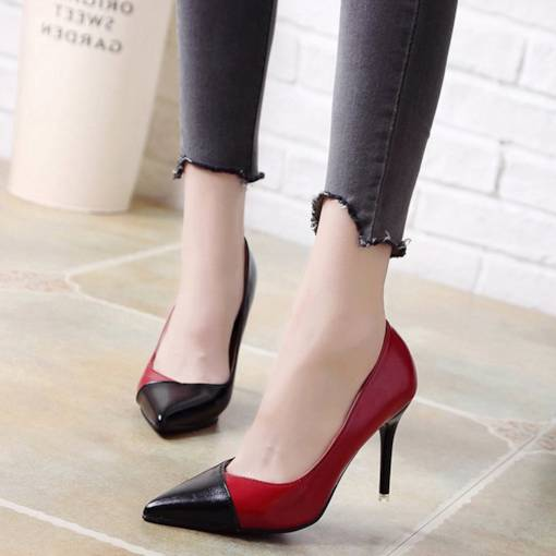 Pointed Toe Stiletto Heel Color Block Slip-On Classical Women's Pumps