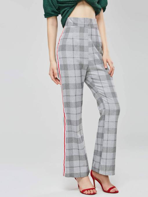 British Style Side Stripe Gingham Straight Women's Casual Pants