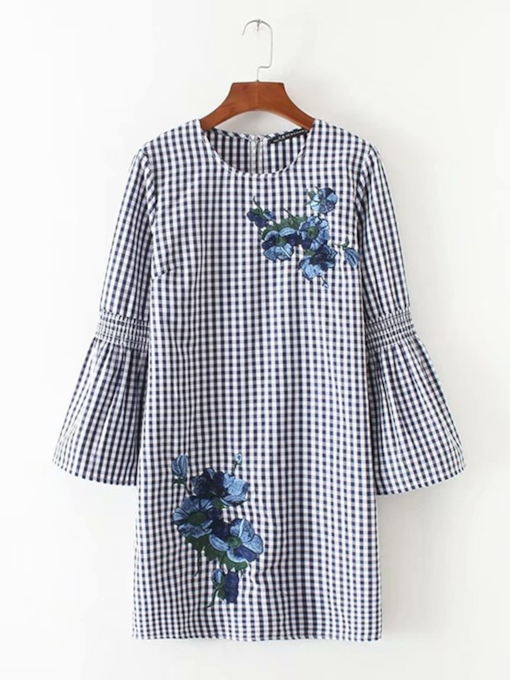 Round Neck Flare Sleeve Floral Dress