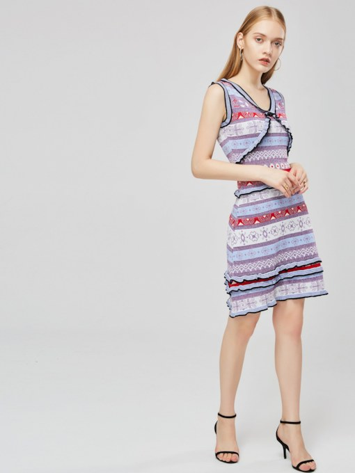 V-Neck Sleeveless Prints Day Dress