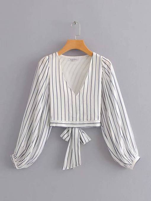 Puff Sleeve Deep V Neck Tie Back Women's Blouse