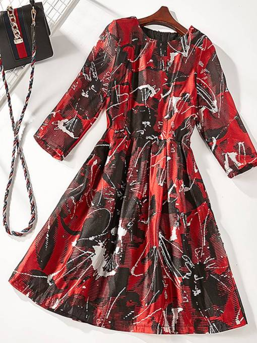 Round Neck Floral A-Line Day Dress