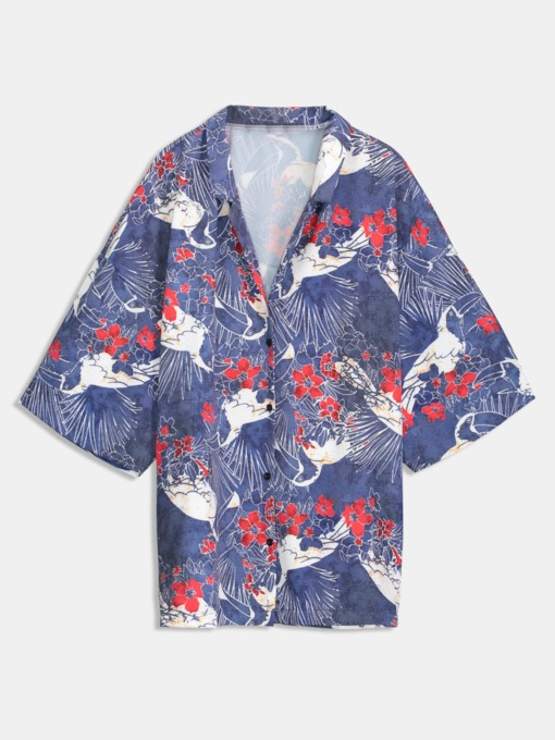Japanese Style Button Down Miexed Print Women's Shirt