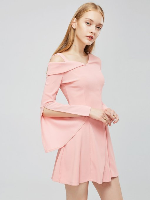 Pink One Shoulder Women's Day Dress