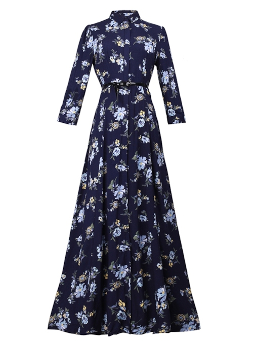 Stand Collar Long Sleeve Prints Maxi Dress