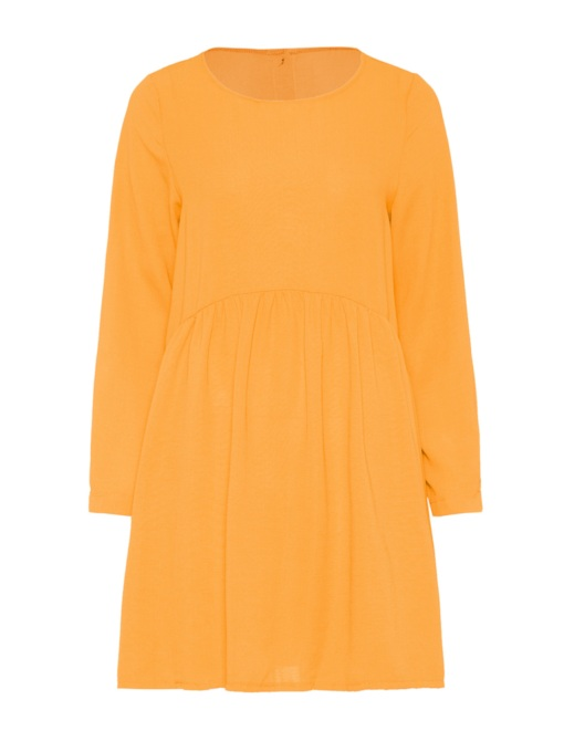 Yellow Round Neck Back Button Dress