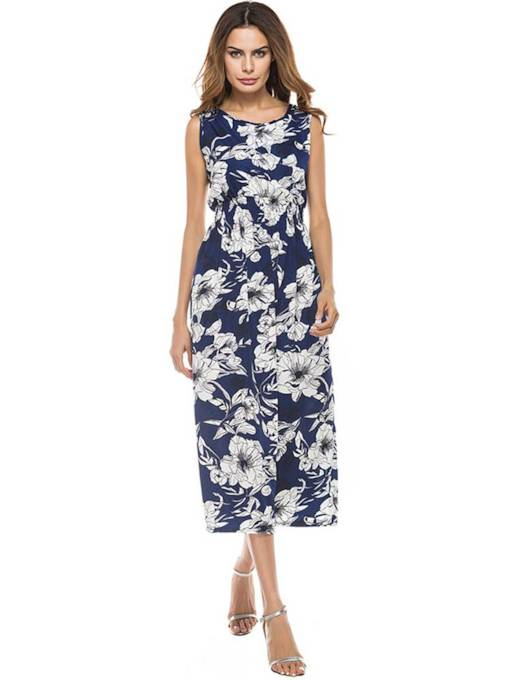 Round Neck Floral Prints Sheath Dress