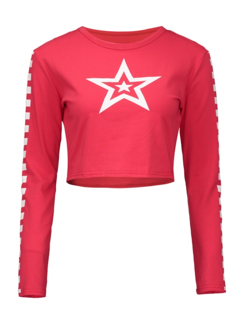 Plain Star Print Cropped Women's T-Shirt