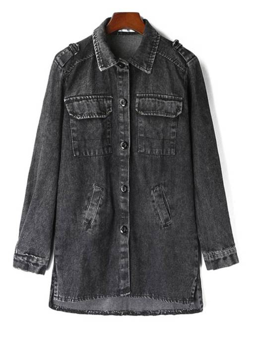 Vintage Boyfriend Style Mid Length Women's Denim Trench Coat