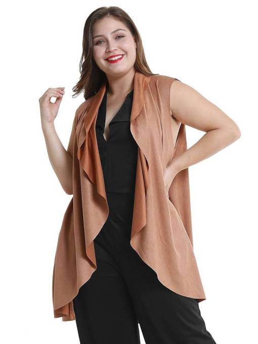 Plus Size Sleeveless Open Front Solid Color Women's Vest