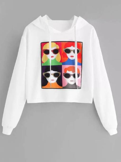 Figure Print Color Block Loose Fit Women's Hoodie
