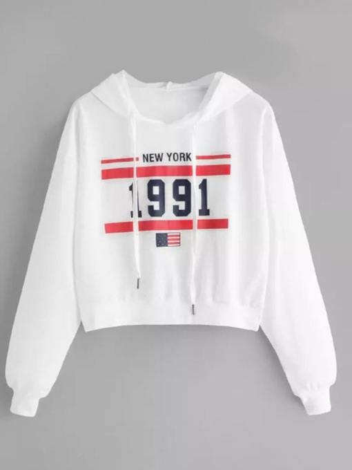 Letter Print Long Sleeve Loose Fit Women's Hoodie