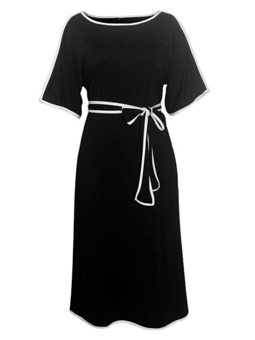 Plus Size Boat Neck Lace-Up Belt Day Dress