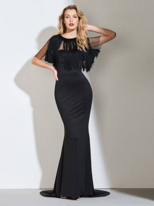 Black Mermaid Evening Dress with Tassel Cape