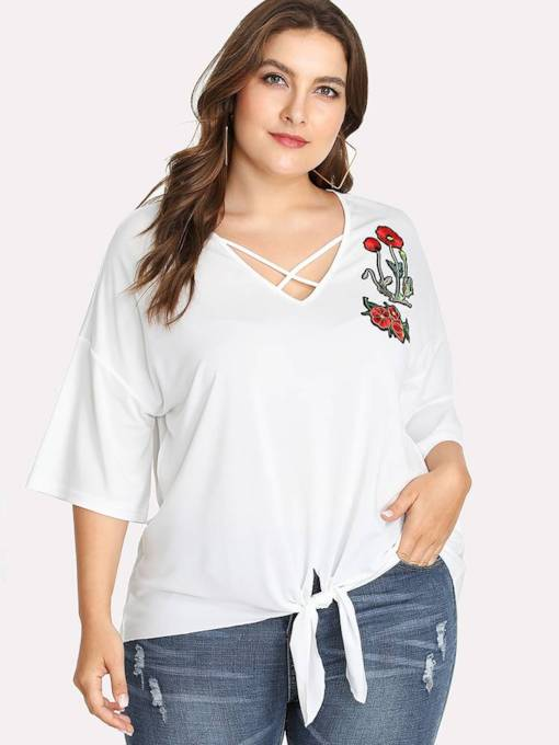 Plus Size Floral Embroidery Lace Up Women's T Shirt