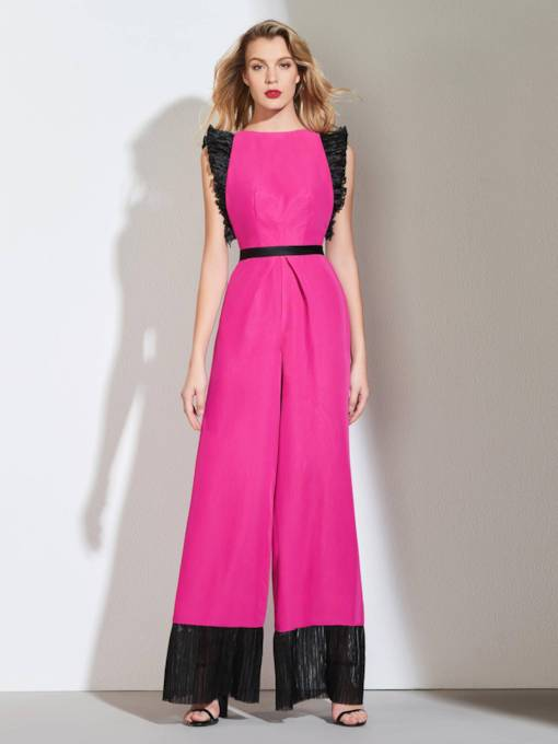 A-Line Bateau Sashes Draped Evening Jumpsuits