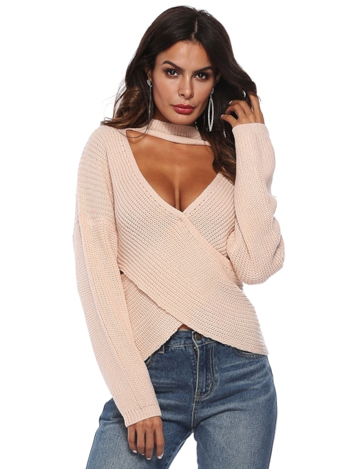 Choker Plunge Neck Cross Front Women's Sweater