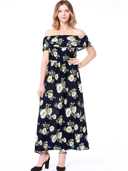 Off Shoulder Floral Prints Maxi Dress