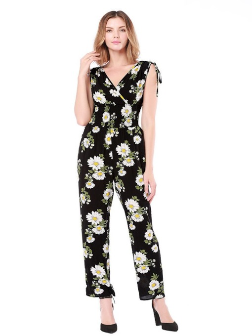 Daisy Print V Neck Lace-Up Women's Jumpsuit