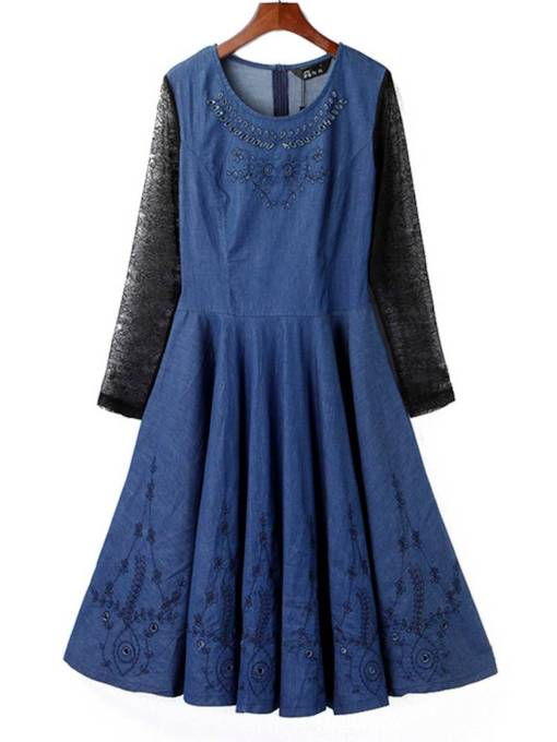 Lace Sleeve Denim High Waist Day Dress