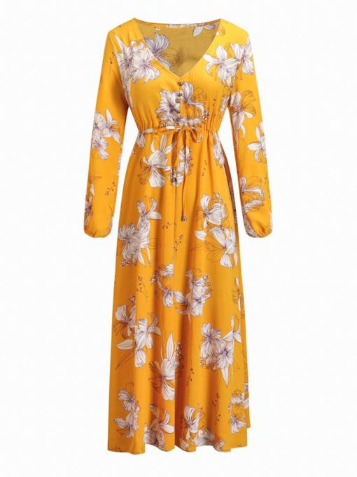 V-Neck Button Long Sleeve Prints Maxi Dress