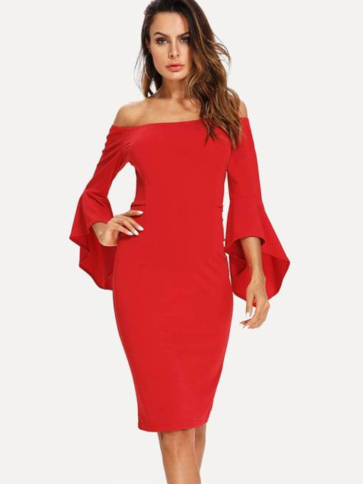 Off Shoulder Bell Sleeve Bodycon Dress