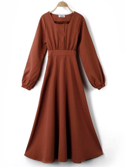 Square Neck Button Long Sleeve Day Dress