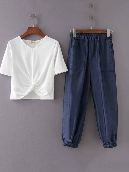 Edge T-Shirt and Casual Pants Women's Two Piece Set